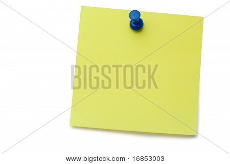 Yellow Post it Memo With Drawing Pin