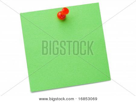 Green Post it Memo With Drawing Pin