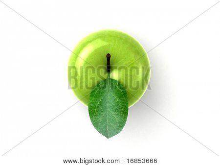 manzana verde fresca con hoja verde