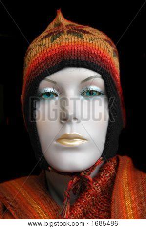 Mannequin Wearing  Alpaca Hat