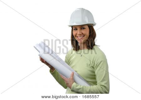 Architect With Har Hat And Blueprints