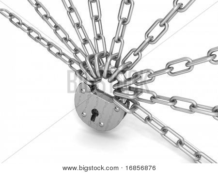 Locked padlock with silver chains in cross, shape, isolated on white background.