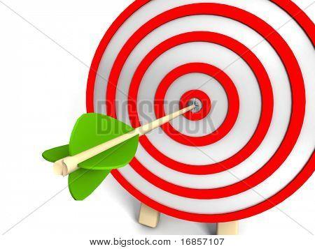 objetivo 3D y flechas, aisladas en blanco