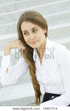 Closeup of an attractive business woman
