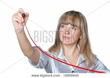 The Business Woman Draws Felt Pen Ascending The Line.