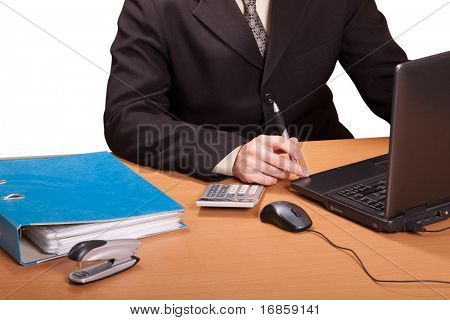 Businessman with laptop and calculator isolated on white background