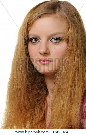 Portrait Of The Woman With Red Hair Close Up
