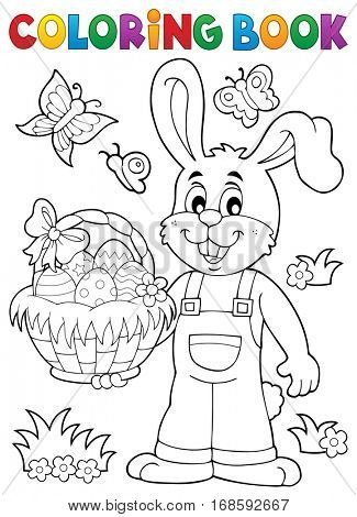 Coloring book Easter rabbit theme 7 - eps10 vector illustration.