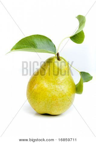 ripe fresh yellow pear with leaves isolated on white