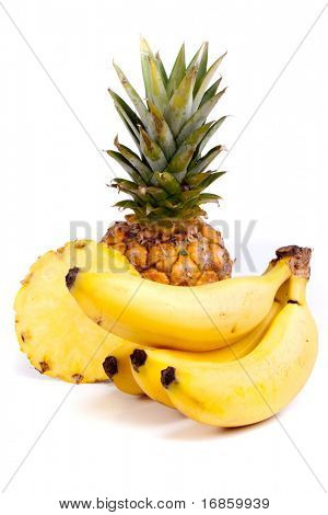 a lot of delicious fresh fruits on white background