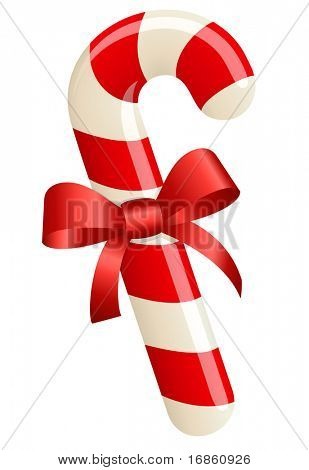 Christmas candy cane with ribbon