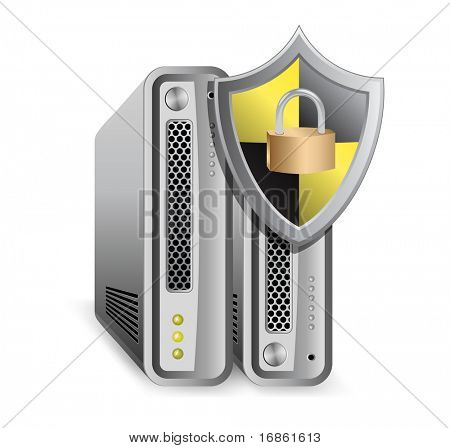 Server defender.  Network Equipment Icon. Network Router, Switch, Server.