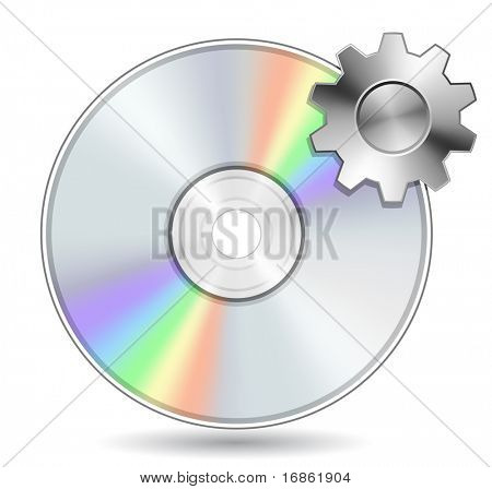 Compact Disk with Gear. Vector illustration of Optical Compact Disk. DVD, CD, Blue-Ray Disk.