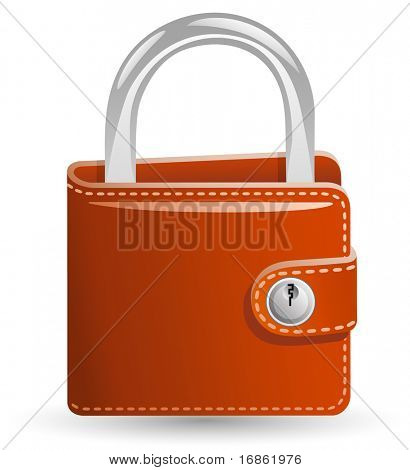 Money security concept. Locked Wallet. Illustration of a wallet closed on the lock.