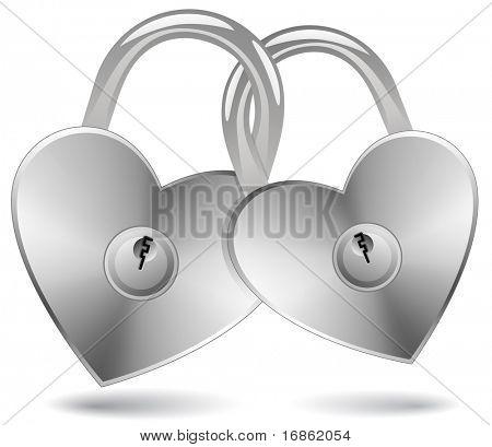 Locked Hearts. Padlocks in the shape of a heart.