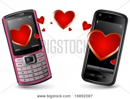Valentine Cell Phones send and recieve SMS. Pink cell phone and Black Smartphone with hearts.