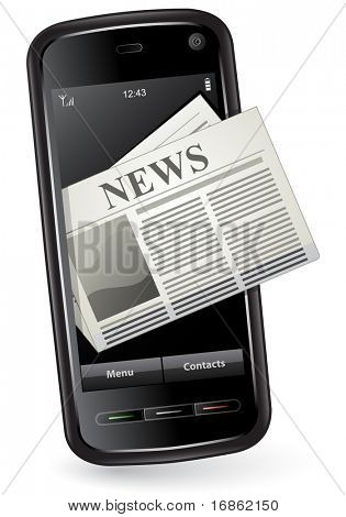 Mobile news concept. Smartphone and newspaper.