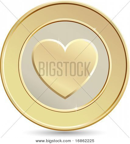 Gold coin. Heart shape.