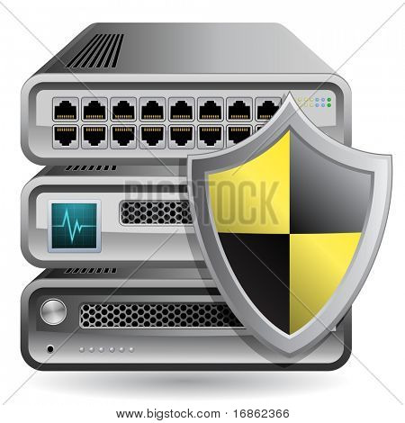 Network Firewall, Router, Switch or Server. Server defender.  Network Equipment Icon.