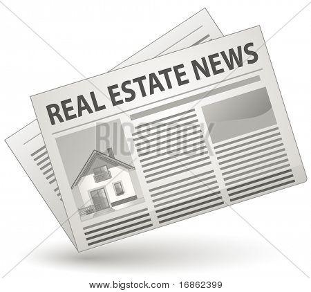 Conceito de notícia de imóveis. Ilustração em vetor de ícone de jornal.