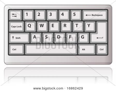 White keyboard. Vector illustration.