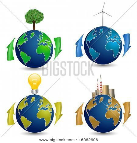 Globe with Tree, Wind Turbine, Light Bulb and Nuclear Power Plant. Eco concept.