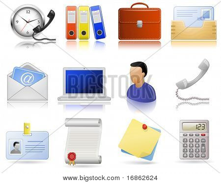 Office supplies. Vector  icon set. Highly detailed icons with a reflection and shadows.