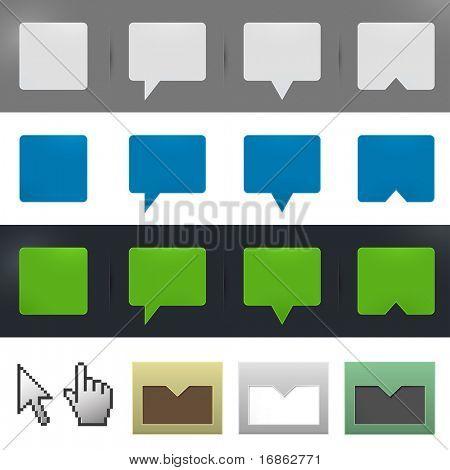 Web site design elements - tags,  labels, buttons