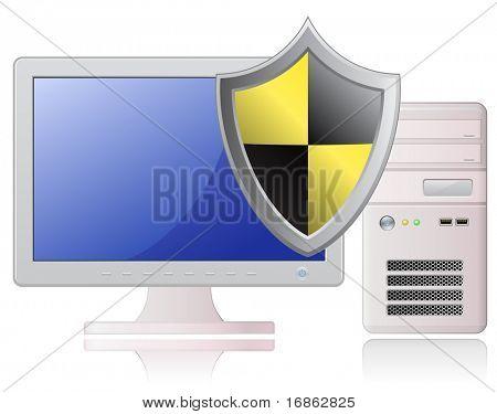 Computer defender. Highly detailed vector illustration of Light Grey Desktop Computer and Shield
