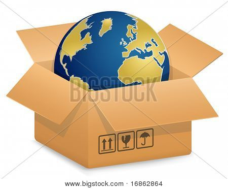 Vector illustration of Globe in Cardboard box. International Shipping Concept.