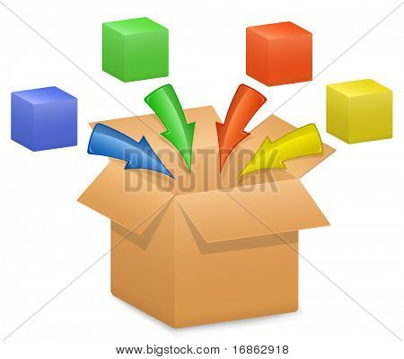 The components of a whole system. Software, Process or Scheme Components. Vector illustration of cardboard box and color arrows and boxes.