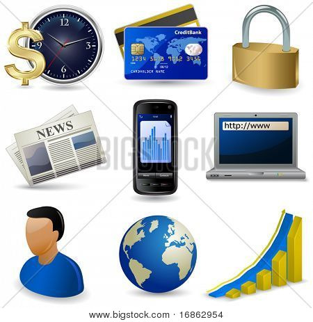 Business website icon set. Raster version of vector illustration - image #40557892