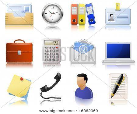 Material de escritório. Conjunto de ícones. Ícones altamente detalhados com uma reflexão. Versão raster vetor ilustr