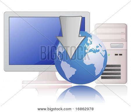 Download. Highly detailed vector illustration of Light Grey Desktop Computer and Globe with Arrow