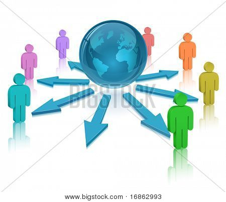 Globe, People and colored arrows. Social Media. Communication Concept.