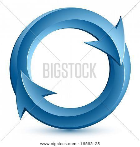 Vektor-Illustration des blauen kreisförmigen Pfeilen