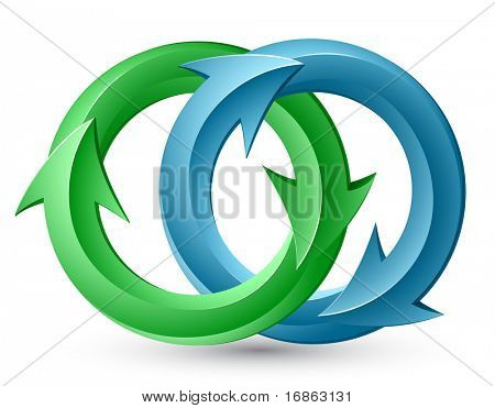Vector illustration of circular arrows. Interweaving.