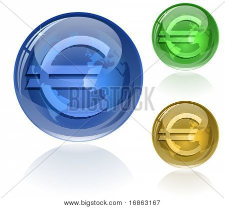 Vector illustration of euro sign on glossy globe