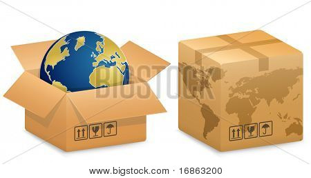 Vector illustration of Shipping Boxes with World Globe Map. International Shipping Concept.