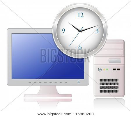 Highly detailed vector illustration of Light Grey Desktop Computer and Office Clock
