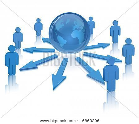 Globe and People. Social Media. Communication Concept.