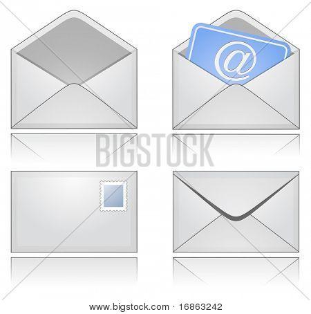 Sobres de correo gris con reflexión
