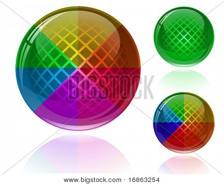 Glossy colorful abstract spheres with patterns. Only simple gradient used.