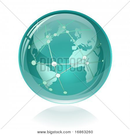 Glossy Globe with Orbits. Only simple gradient used.