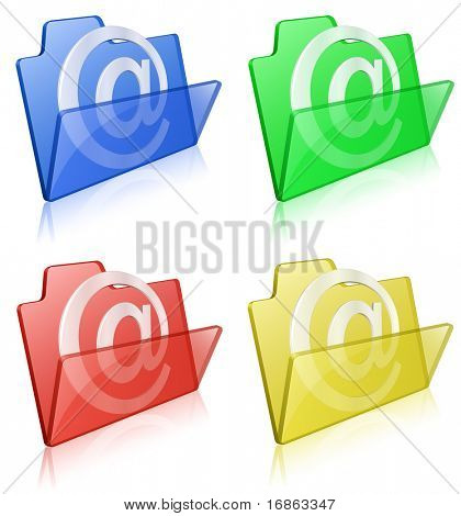 Vector illustration of glass glossy folders with email sign