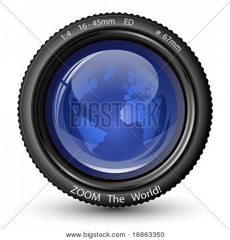 Zoom do mundo! Ilustração em vetor de lente da câmera com a globo. Ícone de notícias de TV
