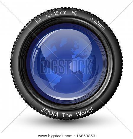 Acercar el mundo! Ilustración del vector de la lente de la cámara con globo. Icono de TV Noticias