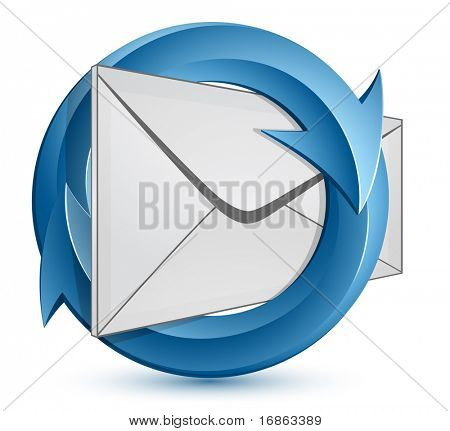 Mail Envelope and blue circular arrows