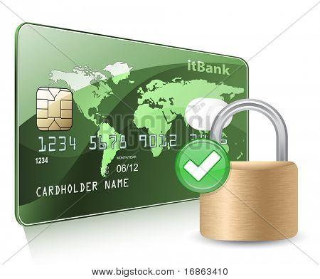 Kredit-oder Debitkarte und Vorhängeschloss. Zahlung Sicherheitskonzept.