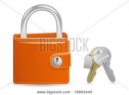 Money security concept. Locked Wallet. Illustration of a wallet closed on the lock and a bunch of keys.